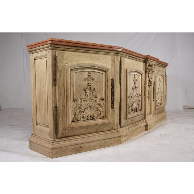 italian baroque style bleached wood buffet chairish. Black Bedroom Furniture Sets. Home Design Ideas