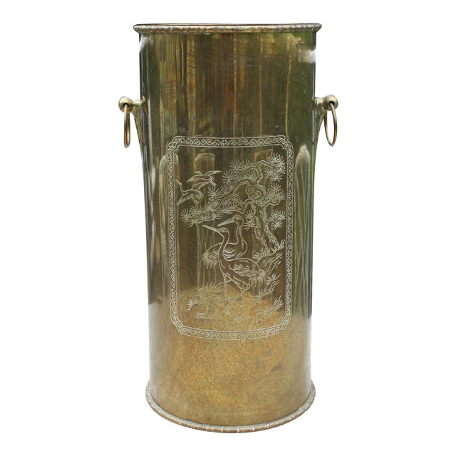 Mid-Century Brass Chinoiserie Umbrella Stand - Image 1 of 9