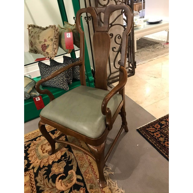 Traditional Baker Green Leather Seat Arm Chair For Sale - Image 3 of 5