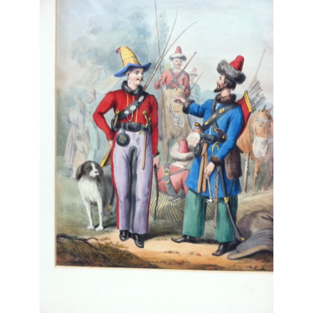 """Mid 19th Century Antique """"2 Soldiers Meet"""" Hand-Colored Matted Print For Sale - Image 4 of 5"""