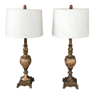 Antique Brass and Marble Table Lamps - A Pair For Sale