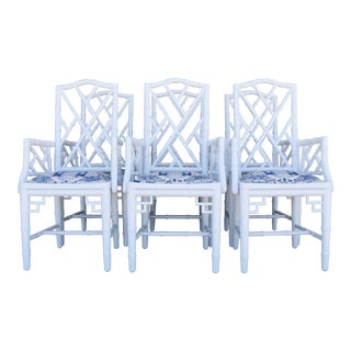 1950s Chinoiserie Faux-Bamboo Chippendale-Style Dining Armchairs - Set of 6 For Sale