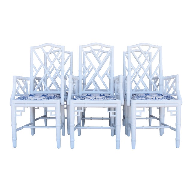 1950s Chinoiserie Faux-Bamboo Chippendale-Style Dinning Armchairs - Set of 6 For Sale