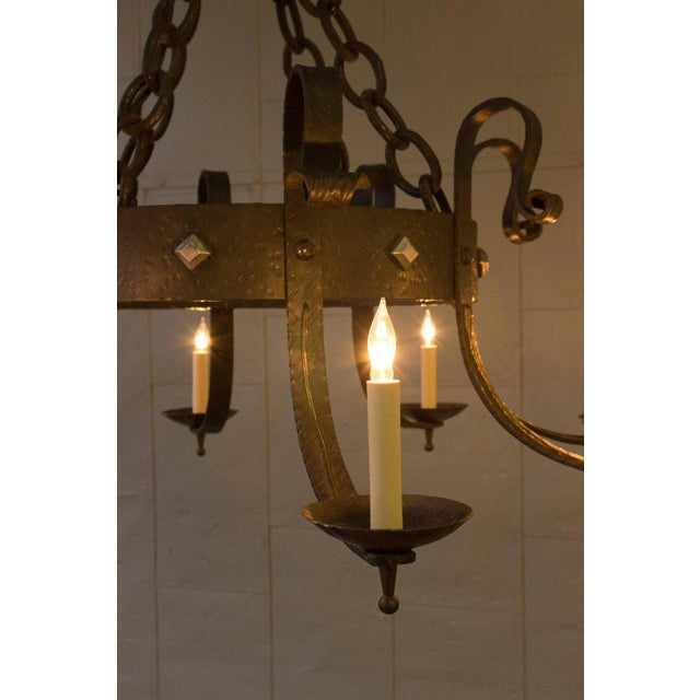 1940's Round Wrought Iron Chandelier with 8 Arms - Image 7 of 11