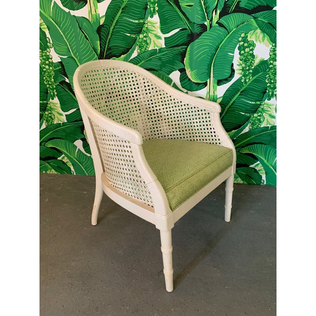 Boho Chic Vintage Cane Back Barrel Chairs, Set of Four For Sale - Image 3 of 9
