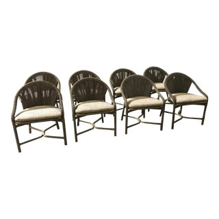 McGuire Rattan, Leather, and Rawhide Dining Chairs - Set of 8