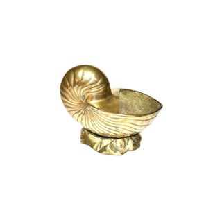 1970s Vintage Brass Nautilus Shell Planter For Sale