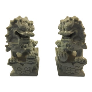Early 20th Century Antique Jade Foo Dogs - A Pair For Sale