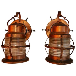 1940s Copper Outdoor/Indoor Marine Sconces - a Pair For Sale