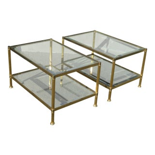 1970s French Provincial Brass & Glass End Tables - a Pair For Sale
