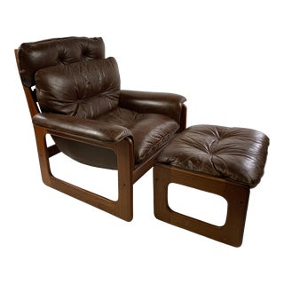 Mid-Century Danish Teak & Leather Lounge Sling Chair & Foot Stool For Sale