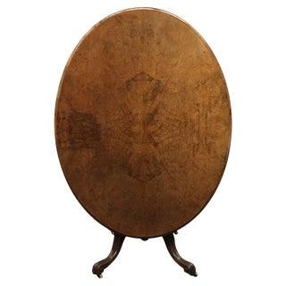 English Burl Walnut Center Table C.1870 For Sale