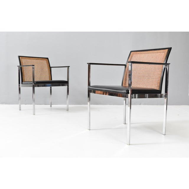 Mid-Century Modern Mid-Century Chrome & Cane Dining Chairs by Lane For Sale - Image 3 of 13