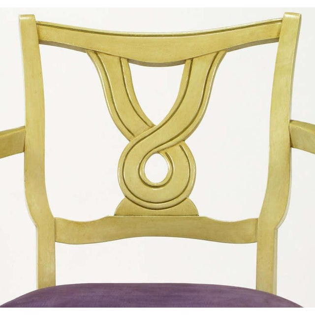 Ivory Six Ivory Glazed Regency Dining Armchairs For Sale - Image 8 of 9