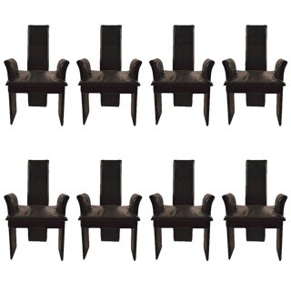 Set of Eight Black Leather Post Modern Chairs For Sale