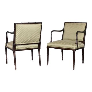 1970s Boho Chic Faux Bamboo Arm Chairs - a Pair For Sale