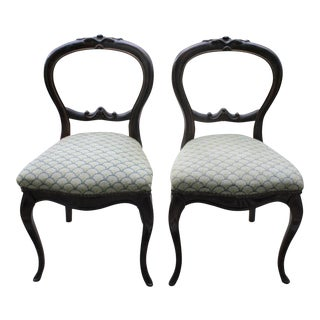 Pair of Antique Hand-Carved Balloon Back Chairs With Cross Stitch Upholstery For Sale