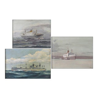 Three Early 20th Century Nautical Paintings, Oil on Canvas For Sale
