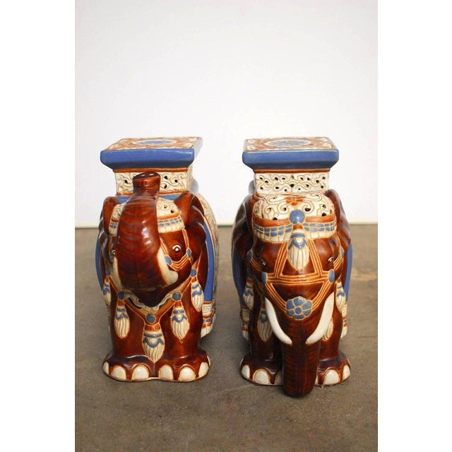 Ceramic Elephant Garden Stools or Drink Tables - A Pair - Image 3 of 11