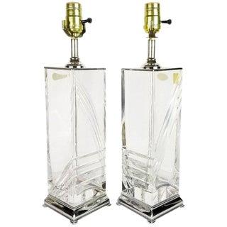 Italian Hollywood Regency Cut Crystal & Chrome Table Lamps - A Pair