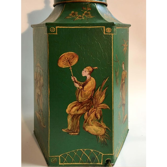 Export English Chinoiserie hexagon tea canister lamp. Green with different figurine in each section. Floral design and...