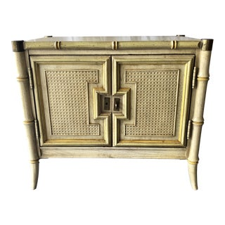 1960s Stanley Faux Bamboo Nightstand For Sale