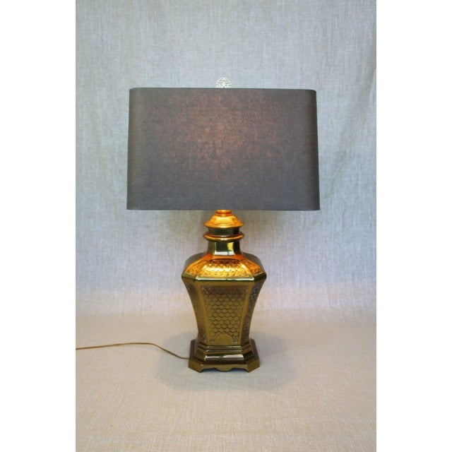 Brass Fish Scale Design Pagoda Lamp For Sale - Image 10 of 10