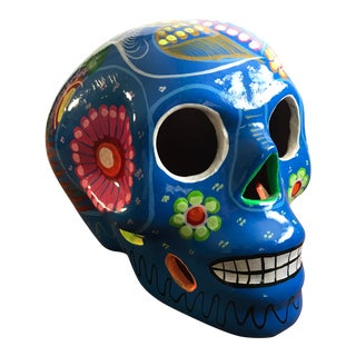 Hand Painted Terra Cotta Día De Muertos Mexican Skull For Sale