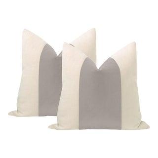 """22"""" Dove Grey Mohair Panel + Linen Pillows - a Pair For Sale"""