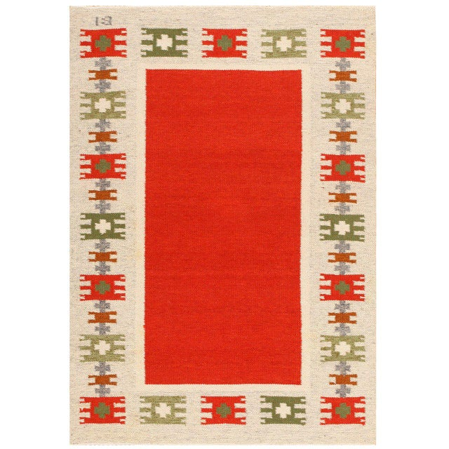 Textile Vintage Swedish-Scandinavian Wool Rug - 4′6″ × 6′4″ For Sale - Image 7 of 7
