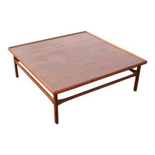 1960s Danish Moreddi Large Square Teak Coffee Table For Sale
