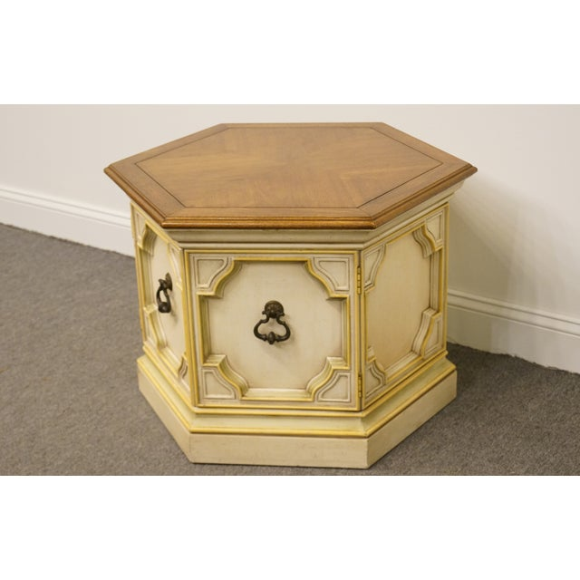 Drexel Heritage Late 20th Century Vintage Drexel Heritage Siena Collection White Hexagonal Side Table For Sale - Image 4 of 11