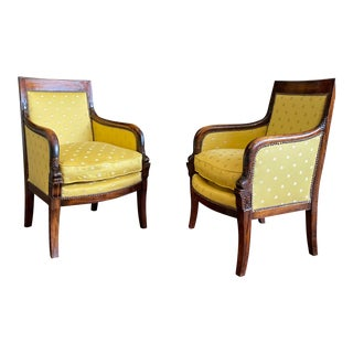 Early 19th Century Empire Mahogany Fauteuils- A Pair For Sale