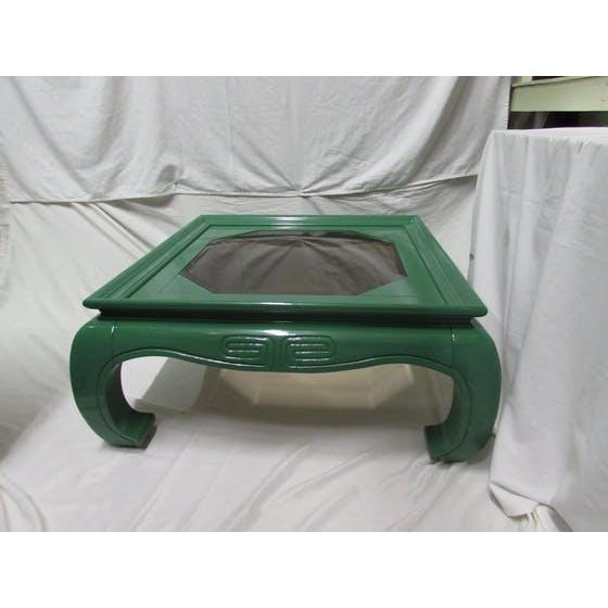 Greek Key Green Lacquered Ming Style Coffee Table - Image 2 of 5