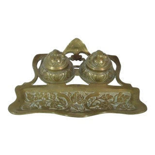 Solid Brass Art Nouveau Ink Stand For Sale