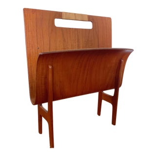 Larsen & Madsen Danish Teak Bentwood Magazine Rack For Sale
