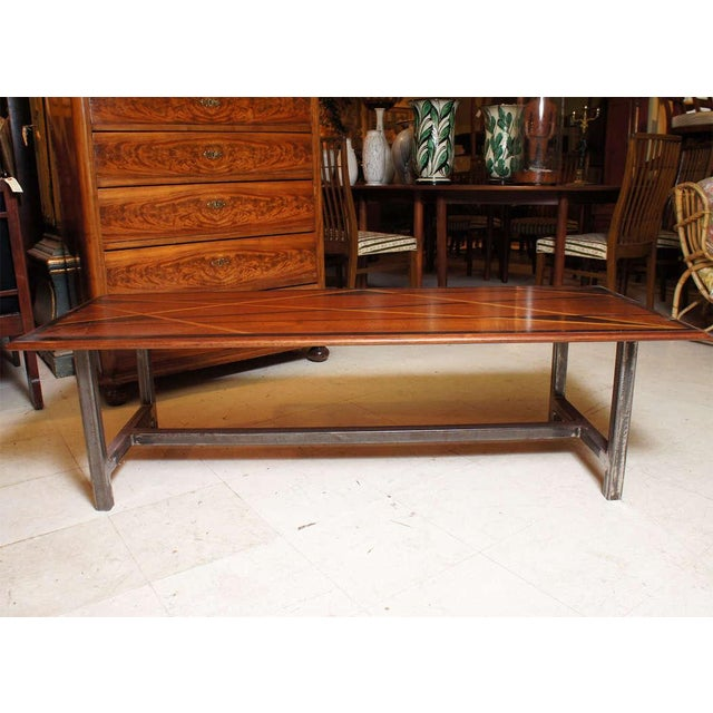1950s Mid-Century Modern Inlaid Wood Top On Later Metal