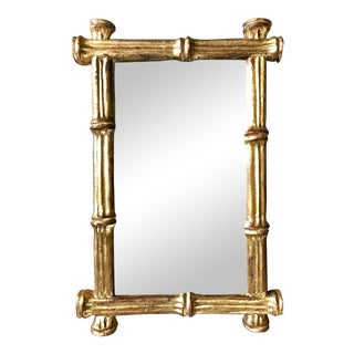 Vintage Florentine Gilt Faux Bamboo Wall Mirror For Sale