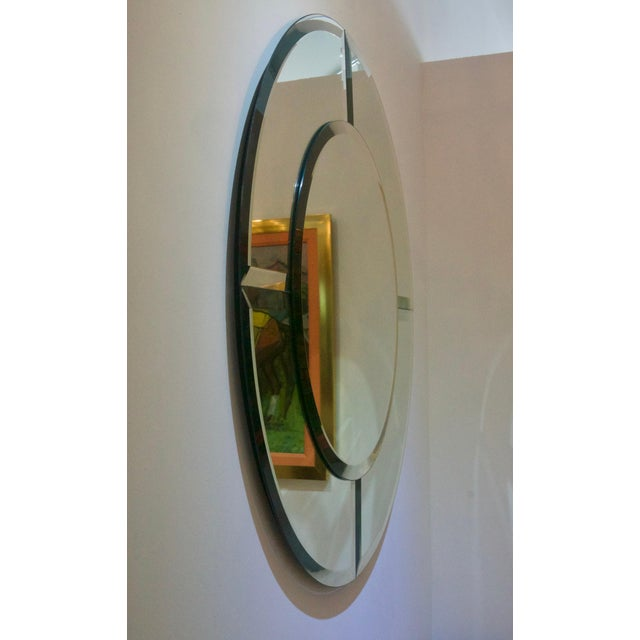 Art Deco Round Mirror With Beveled Edges, Art Deco Revival For Sale - Image 3 of 8