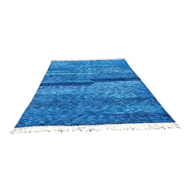 Custom Made Blue Beni Ourain Moroccan Rug - 8′ × 13′ For Sale