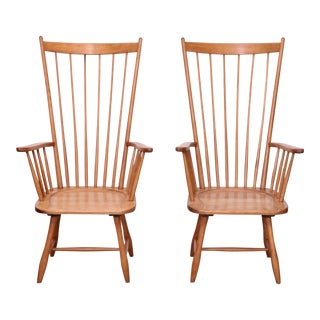 Pair of Low Arno Lambrecht Highback Windsor Lounge Chairs For Sale