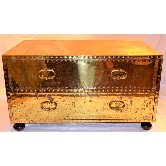 Metal (Final Markdown) 1970s Hollywood Regency Sarreid Brass Clad Two Drawer Chest For Sale - Image 7 of 12
