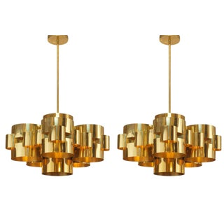 Curtis Jere Polished Brass 'Cloud' Form Chandeliers - a Pair For Sale