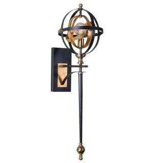 Black and Gold Metal Sconce For Sale