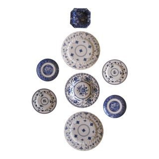 Blue & White Transfer-Ware Plates- 8 Pieces For Sale