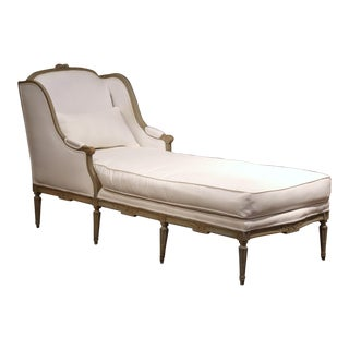 19th Century French Louis XVI Carved and Painted Eight-Leg Chaise With Muslin For Sale