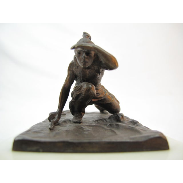 Late 19th Century 19th Century American Indian Bronze Sculpture by Carl Kauba For Sale - Image 5 of 7
