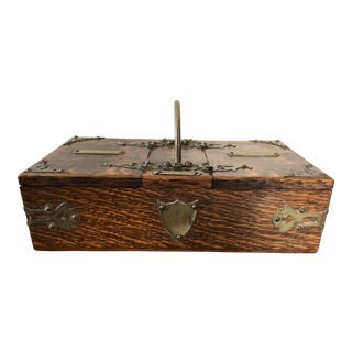Victorian Oak Brass Cigars Cigarettes Humidor For Sale