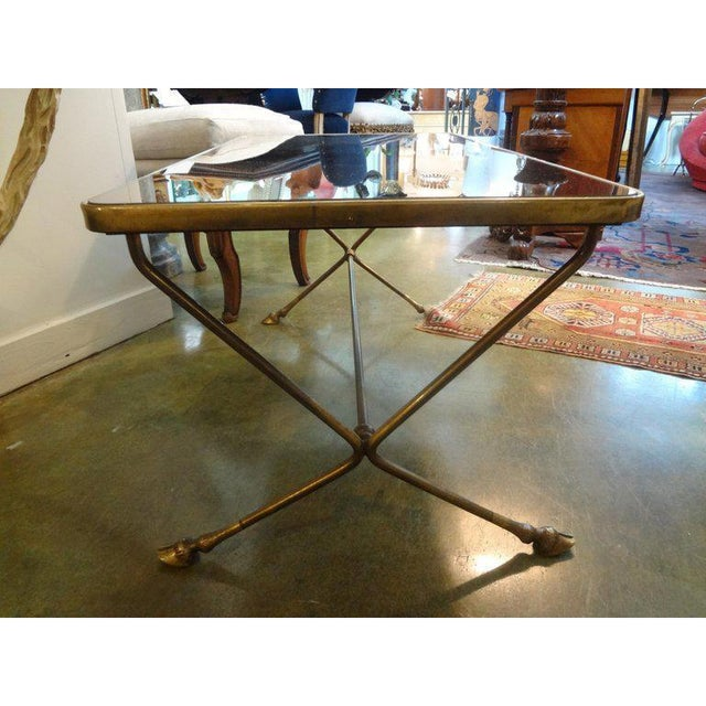 French 1940's Vintage French Maison Bagues Style Bronze and Mirrored Coffee Table For Sale - Image 3 of 10