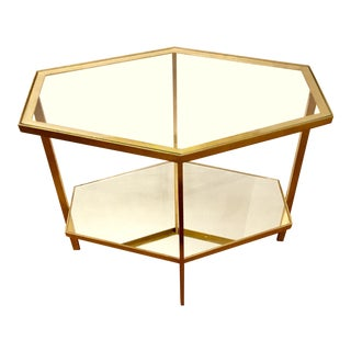 Global Views Modern Hexagonal Gold Metal and Glass Side Table For Sale
